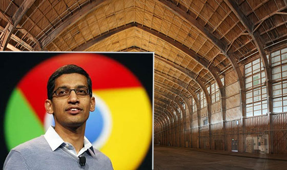 Captured photo features Google CEO Sundar Pichai and the Spruce Goose hangar on the Hercules campus while it was under renovation; Credit: Matt Construction